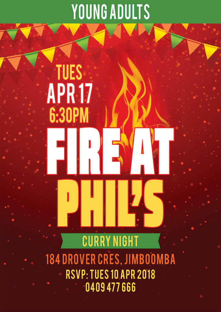 Young Adults - Fire at Phil's, Curry Night