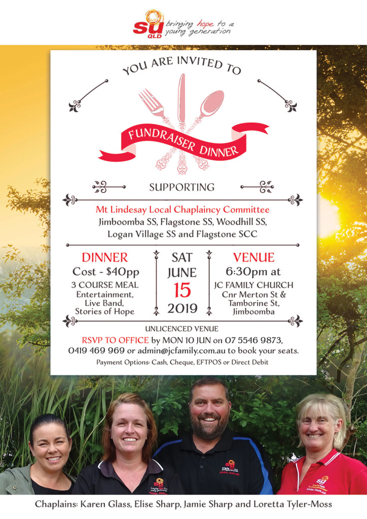 Mt Lindesay Chaplaincy Fundraiser Dinner 2019, JC Family Church - Sat June 15